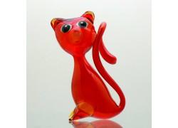 Red cat from blown glass www.sklenenevyrobky.cz