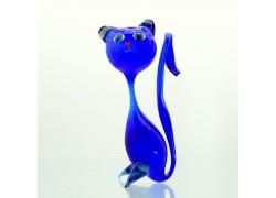 Kočka velká modrá z foukaného skla 18x9x5,5cm