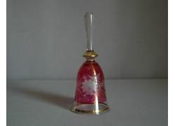 Skleněný zvonek, červený a dekor květina