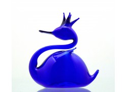 Labuť modrá z foukaného skla 8,5x7,5x4,5cm