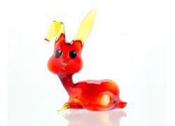 Zajíc červený z foukaného skla 11x9x4,5cm