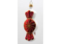 Vánoční ozdoba bonbon F246 červená/bílá