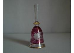 Skleněný zvonek, fialový a dekor květina
