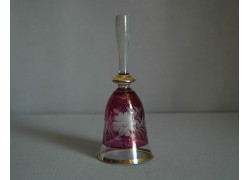 Skleněný zvonek II. 14cm motiv květina fialový listr