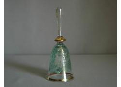 Zvonek ze skla II. 14cm rytý motiv květina zelený listr
