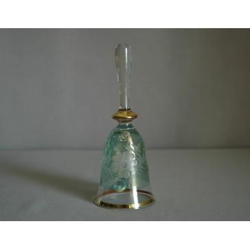 Zvonek listr malý II. 14cm dekor květina zelený