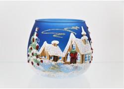 Vánoční svícen na svíčku, v modrém dekoru Vánoc