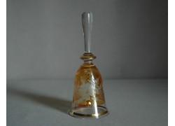 Glass bell, yellow and decor flower www.sklenenevyrobky.cz