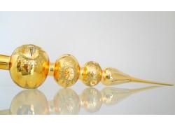 Vánoční špička 3kulová zlatý lesk 40cm píchaná 587