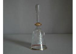 Zvonek sklo II. 14cm dekor květina rytý čirý