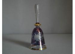 Glass bell, blue and decor flower www.sklenenevyrobky.cz