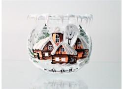 Vianočné kalich na sviečku, číre sklo 10cm