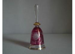 Skleněný zvonek, fialový s dekorem hroznového vína