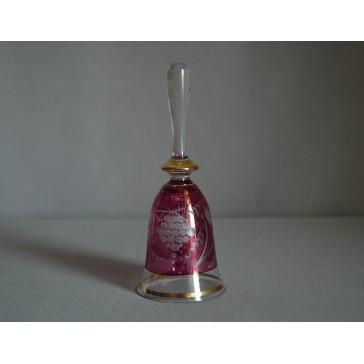 Zvonek listr malý II. 14cm dekor víno fialový