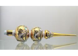 Špice 45cm 3koule zlato-stříbrný dekor
