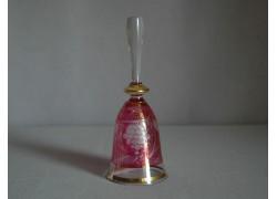 Skleněný zvonek, červený s dekorem hroznového vína