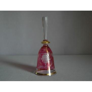 Zvonek listr malý II. 14cm dekor víno červený