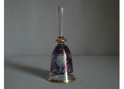 Glass bell, blue with grape decoration www.sklenenevyrobky.cz