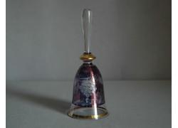 Skleněný zvonek II. 14cm motiv hrozen vína modrý listr
