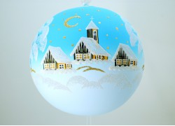 Vánoční koule 18cm tyrkysová decor zima