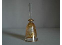 Zvonek sklo II. 14cm motiv hroznové víno žlutý listr