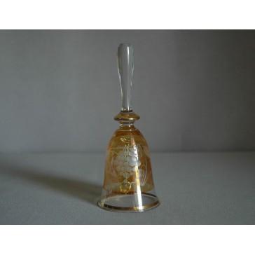 Skleněný zvonek, žlutý s dekorem hroznového vína www.sklenenevyrobky.cz