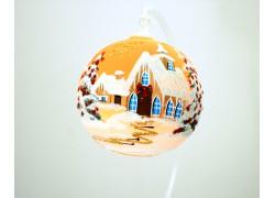 Christmas ball 10cm, decor retro christmas, orange / yellow www.sklenenevyrobky.cz