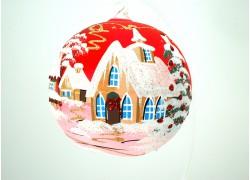 Koule vánoční 12cm červená decor Christmas závěsná