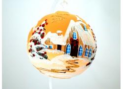 Christmas ball 12cm, decor retro christmas, orange / yellow www.sklenenevyrobky.cz