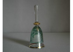 Glass bell, green color with swans decor www.sklenenevyrobky.cz