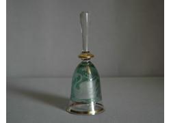 Skleněný zvonek, zelené barvy s dekorem Labutě