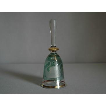 Zvonek listr malý II. 14cm dekor labuť zelený