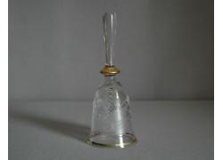 Zvonek ze skla II. 14cm dekor labuť rytý čirý