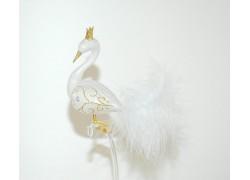 Vánoční ozdoba Labuť 1353 8x10x17cm bílá mat, zlatá korunka