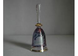 Skleněný zvonek, modré barvy s dekorem Labutě