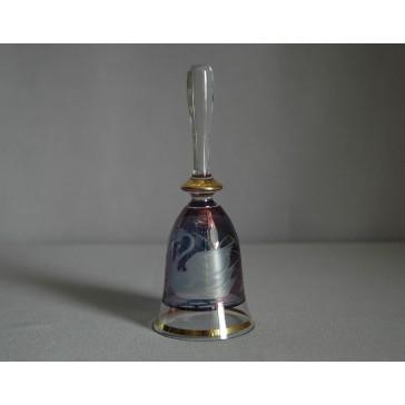 Zvonek listr malý II. 14cm dekor labuť modrý