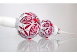 Vianočná špička porcelánové bielej farby s dekorom kvety 44cm www.sklenenevyrobky.cz