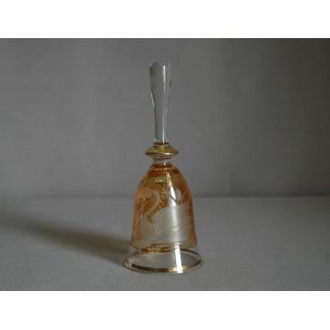 Skleněný zvonek, žluté barvy s dekorem Labutě www.sklenenevyrobky.cz