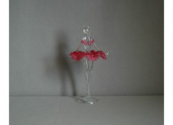 Figúrka tanečnice-balerínky v červených šatách, číre sklo