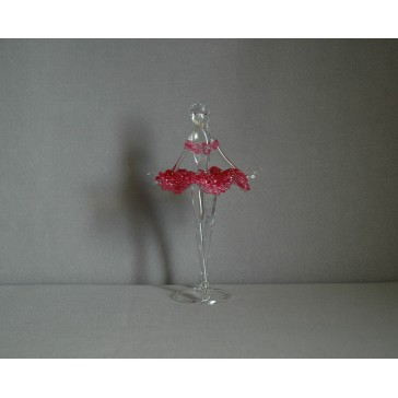 Figúrka tanečnice-balerínky v červených šatách, číre sklo www.sklenenevyrobky.cz