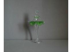 Figurka tanečnice-baleríny v zelených šatech, čiré sklo