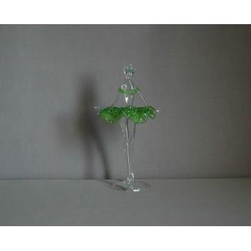 Figurka tanečnice-baleríny v zelených šatech, čiré sklo www.sklenenevyrobky.cz