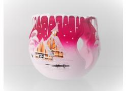 Vánoční kalich na svíčku, růžový 10cm