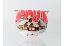 Vianočné kalich na sviečku, Losová ružová 10cm