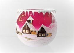 Christmas candle holder for tea candle, pink 12cm www.sklenenevyrobky.cz