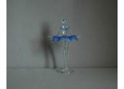 Figúrka tanečnice-baleríny v modrých šatách, číre sklo