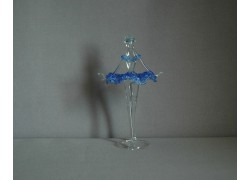 Figurka tanečnice-baleríny v modrých šatech, čiré sklo