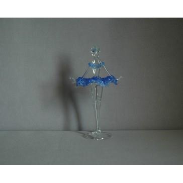 Figúrka tanečnice-baleríny v modrých šatách, číre sklo www.sklenenevyrobky.cz