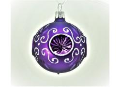 Vánoční koulička 60mm fialková píchaná 2049