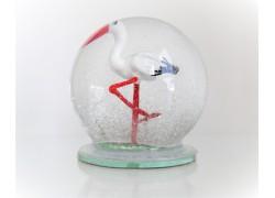 Sněžící koule 10cm Čáp
